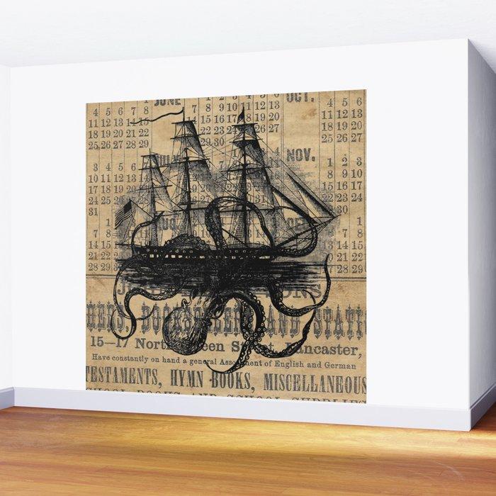Octopus Kraken attacking Ship Antique Almanac Paper Wall Mural