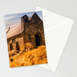 Old Stone Church on Colorful Landscape Stationery Cards