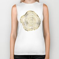 colorful Biker Tanks featuring Gold Tree Rings by Cat Coquillette