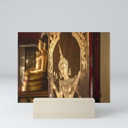 Intricate gold leaf painting on door of Wat Phra That Doi Suthep Mini Art Print