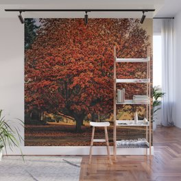 A Small Town in Autumn Wall Mural