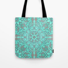 Mint Green & Grey Folk Art Pattern Tote Bag