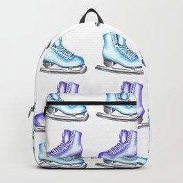 Ice Skate Winter Watercolor Pattern Backpack