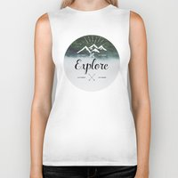explore Biker Tanks featuring Explore by Quellasenzanick