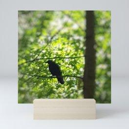 Black Bird Summer Green Tree Mini Art Print