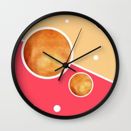 Deep Pink, Peach And Gold Pattern - Pastel Colors - Abstract Pattern Design - Modern, Minimal Wall Clock