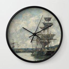 Ships at Le Havre - Eugene Boudin Wall Clock