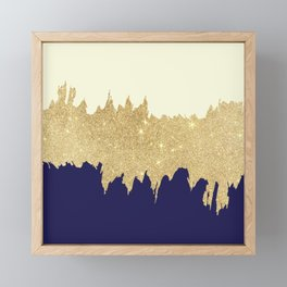 Navy blue ivory faux gold glitter brushstrokes Framed Mini Art Print