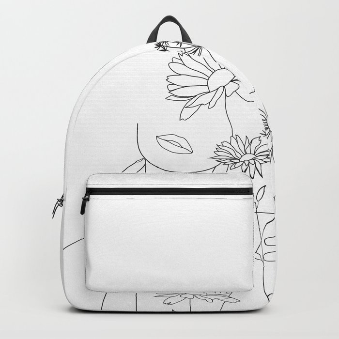 Minimal Line Art Woman with Flowers III Rucksack