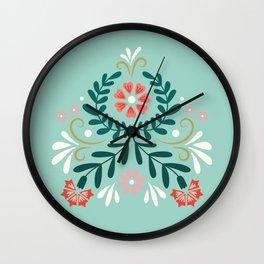 Floral Folk Pattern Wall Clock