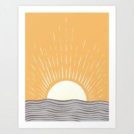 Abstraction minimal sunrise ocean 2021 - 1 Art Print