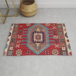 Tribal Honeycomb Palmette II // 19th Century Authentic Colorful Red Flower Accent Pattern Rug
