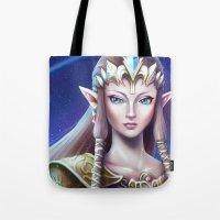 zelda Tote Bags featuring Zelda by Emeraldus