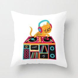 Cat DJ Throw Pillow