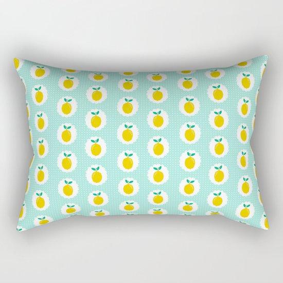 Lemons pastel mint white yellow summer fruit tropical lemonade vacation trendy pattern food print Rectangular Pillow