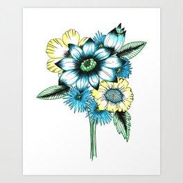retro teal bouquet  Art Print