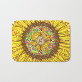 Sunflower Compass Bath Mat
