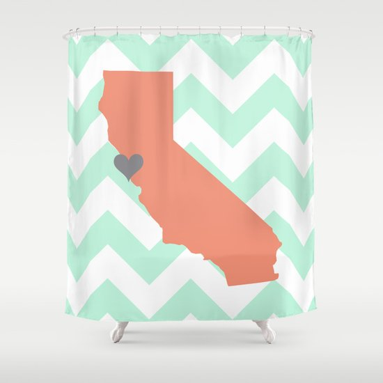Curtains Ideas coral chevron shower curtain : San Francisco California in Mint and Coral With Chevron Shower ...