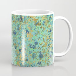 Patina Style Turquoise, Navy, Lime and Aqua with Gold Design Coffee Mug