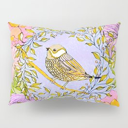 Spring Chickadee in Flowery Woodland Wreath Pillow Sham