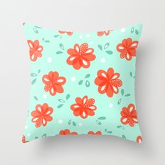 Cheerful Red Flowers Pattern Throw Pillow
