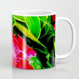 Flowers 113. Floral. Red. Green Leaves Coffee Mug