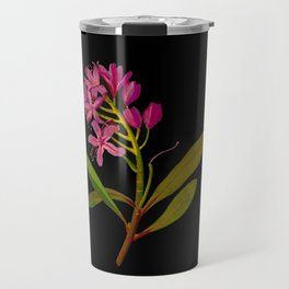 Rhododendron Ponticum Mary Delany British Botanical Floral Art Paper Flowers Black Background Travel Mug