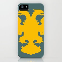 yellow double-headed eagle on a gray-blue background iPhone Case