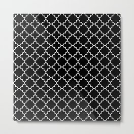 White on Black Quatrefoil - Baby Stimulation Pattern Metal Print