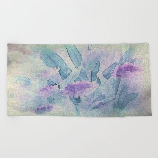 Heavenly Lavender Water Color Floral Beach Towel