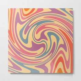 70s Retro Swirl Color Abstract 3 Art Metal Print