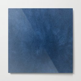 Blue leather texture Metal Print