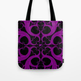 Purple Gothic Fractal Heart Pattern Tote Bag