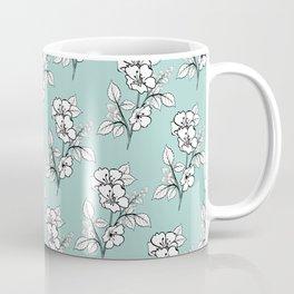 Duchess Teal White Flowers Coffee Mug