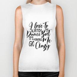 I Love To Watch Her Dance, Home Decor, Minimalist Poster Biker Tank