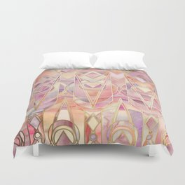 Glowing Coral and Amethyst Art Deco Pattern Duvet Cover