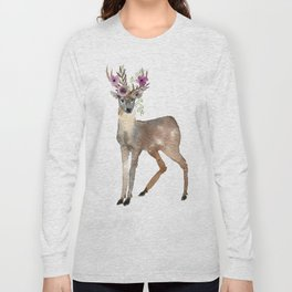 Boho Chic Deer With Flower Crown Long Sleeve T-shirt