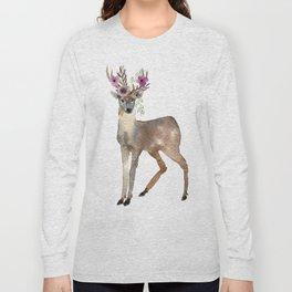 Boho Chic Deer With Flower Crown Long Sleeve T-shirt
