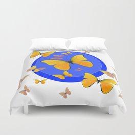 YELLOW BUTTERFLIES SWARM & BLUE RING MODERN ART Duvet Cover