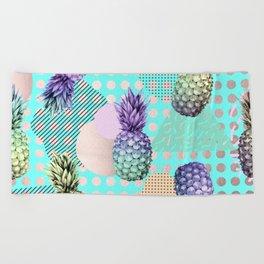 Pineapple Summer Rainbow Rose Gold Beach Towel