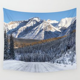Winter Wonderland - Road in the Canadian Rockies Wall Tapestry