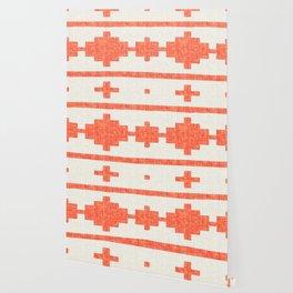 Orange Cream Aztec Stripe Wallpaper