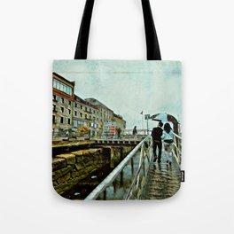 Boston Rain: Exit Gate 3 Tote Bag