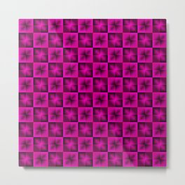 Chess pink squares dark stars with flowers. Metal Print
