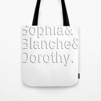 golden girls Tote Bags featuring Golden Girls in white by pruine
