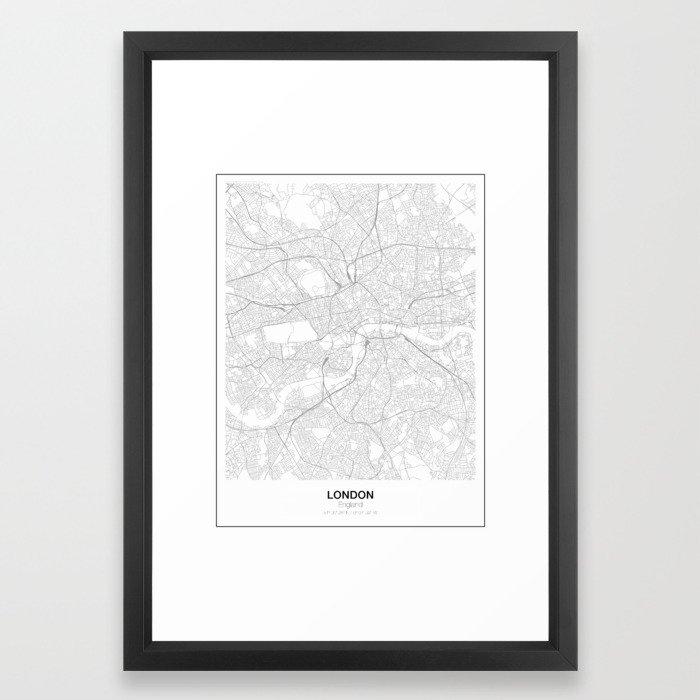 London, England Minimalist Map Framed Art Print by resfeber | Society6