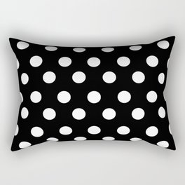 White Polka Dots on Black Rectangular Pillow