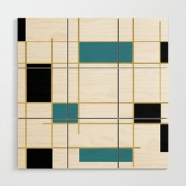 MidCentury Modern Art Aqua Gold Black Wood Wall Art