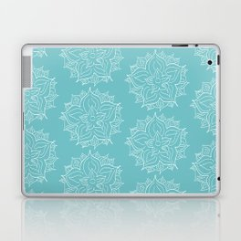 White Floral Medallion on Turqoise Background Laptop & iPad Skin