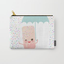 pink ice cream, ice lolly holding an umbrella. Kawaii with pink cheeks and winking eyes Carry-All Pouch